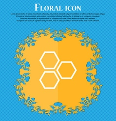 Honeycomb icon sign Floral flat design on a blue vector image