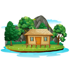 Hut in isolated island vector