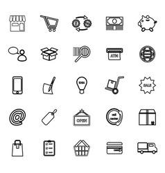 Internet entrepreneur line icons on white vector