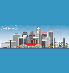 jacksonville skyline with gray buildings and blue vector image