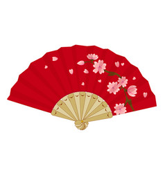 japanese folding vintage fan with sakura vector image