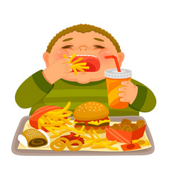 Kid eating junk food vector
