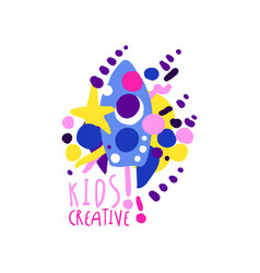 kids creative colorful logo design template vector image