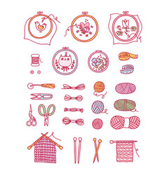 Knitting and stitching set vector