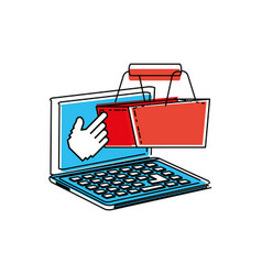 laptop computer with shopping basket vector image
