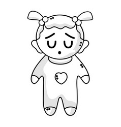 Line cute baby girl with hairstyle and clothes vector