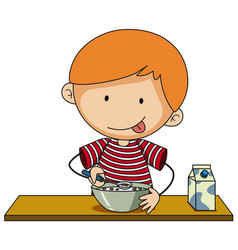 Little boy having cereal with milk vector