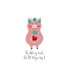 Lovely piggy holding jar with heart vector