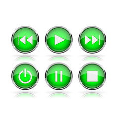 media buttons green round glass buttons with vector image