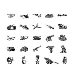 military tool clipart cartoon set vector image