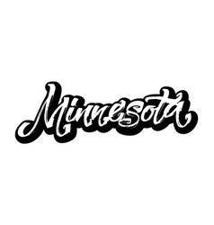 Minnesota sticker modern calligraphy hand vector