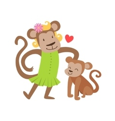 Monkey Mom In Dress Animal Parent And Its Baby vector image vector image