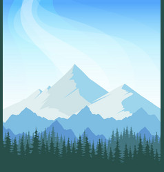 Mountain landscape with blue sky and forest vector