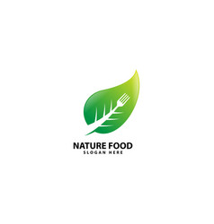 Nature food logo with fork vector