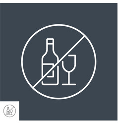 no alcohol sign related thin line icon vector image