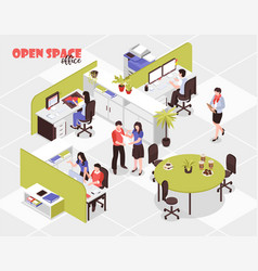 Open space office isometric vector