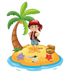 Pirate and island vector image