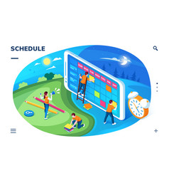 planner application screen schedule landing page vector image
