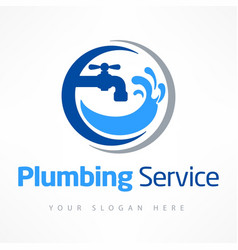 Plumbing service logo in blue vector