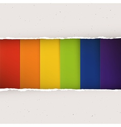 Rainbow stripes under torn paper plates vector