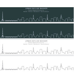 riga single line skyline banner vector image