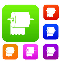 roll of toilet paper on holder set color vector image