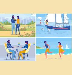 romantic couples leisure and dating together set vector image