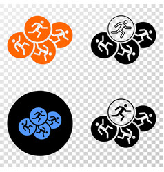 running persons eps icon with contour vector image