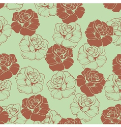 Seamless green floral pattern with brown roses vector