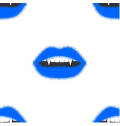 Seamless pattern fluffy lips open mouth with fangs vector