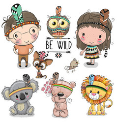Set of cute tribal girl and boy and animals vector