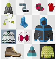 Set of flat winter clothes and accessories vector image