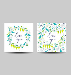Set of the two flowers and herbs cards vector