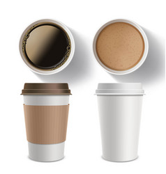 set plastic containers coffee vector image