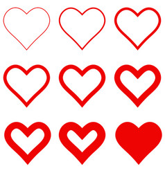 set red hearts with different stroke thickness vector image