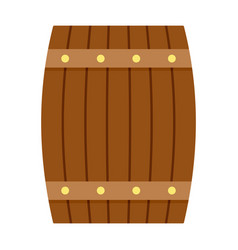Side of wood barrel icon flat style vector