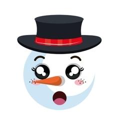 snowman happy face cartoon vector image