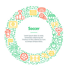 soccer game thin line banner card circle vector image