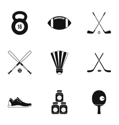Sports accessories icons set simple style vector image