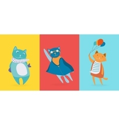 Three flat cute cats vector