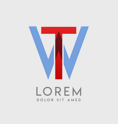 tw logo letters with blue and red gradation vector image