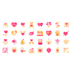 valentine day flat icon set love heart card vector image