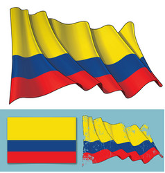 Waving flag of colombia vector