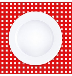 White Plate On Checkered Tablecloth vector