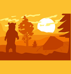 wild bear in forest camp vector image