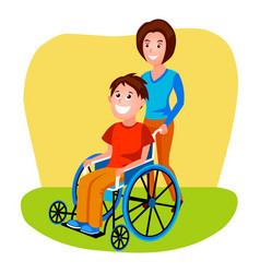 woman helping disabled person in wheelchair vector image