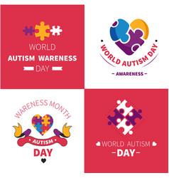 World autism awareness day mental disorder emblems vector
