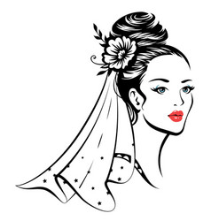 Young beautiful bride vector