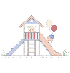 children are played on a slide vector image vector image