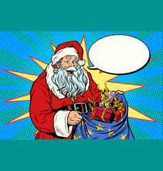 joyful santa claus with bag of christmas gifts vector image